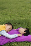 Family sleeping on lawn Stock Images