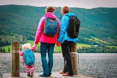 Family with small baby girl travel hiking in nature. Norway travel royalty free stock photography
