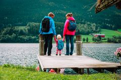 Family with small baby girl travel hiking in nature. Norway travel stock images