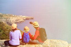 Family with small kid making selfie while travel Stock Photography