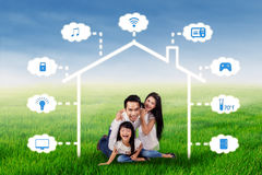Family with smart home technology design Stock Photo