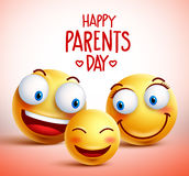 Family of smiley faces vector characters for happy parents day stock illustration
