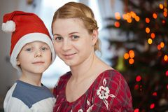 Family smiling in christmas day royalty free stock photos