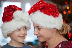 Family smiling in christmas day stock images
