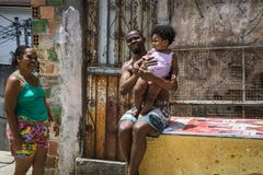 A family smiling, Salvador, Bahia, Brazil stock photos