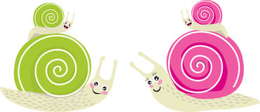 Family Snails. Four small snails are looking up to great Royalty Free Stock Photography