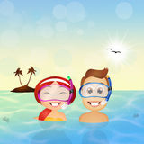 Family snorkelers Royalty Free Stock Image