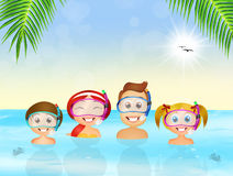 Family snorkelers Royalty Free Stock Images