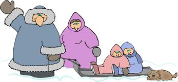 Family In The Snow royalty free illustration