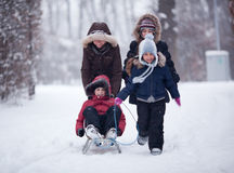 Family snow fun Stock Images
