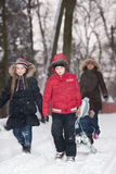 Family snow fun Stock Photography