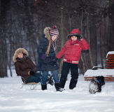 Family snow fun Stock Image