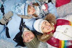 Family in snow Royalty Free Stock Images