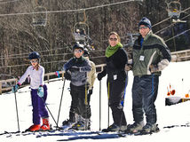 Family Snow Skiers. A family enjoying a holiday at the ski slopes in Maggie Valley, North Carolina stock image