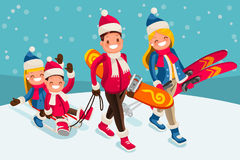 Family Snow Skiing People Isometric Cartoon Character Vector Royalty Free Stock Photos