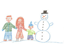 Family and snowman Stock Photography