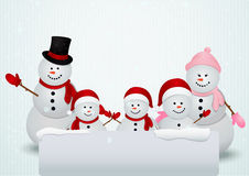 Family of snowman christmas background Stock Image