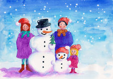 Family with snowman watercolor painting Stock Image