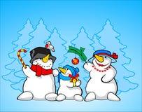 Family of snowmen Royalty Free Stock Photos