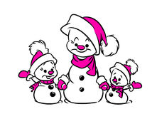 Family snowmen illustration Christmas Stock Image