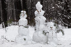Family snowmen Stock Photography