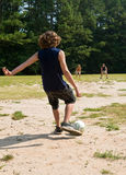 Family soccer game Stock Images