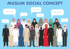Family and social concept. Arab person generations at different ages. Group adults and senior muslim people standing Royalty Free Stock Image