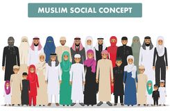 Family and social concept. Arab person generations at different ages. Group young and adults muslim people standing Stock Image