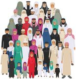Family and social concept. Arab person generations at different ages. Group young and old muslim people standing Stock Photos