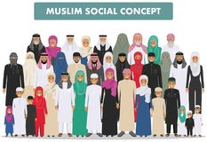 Family and social concept. Arab person generations at different ages. Group young and old muslim people standing royalty free illustration