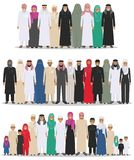 Family and social concept. Arab person generations at different ages. Group young and old muslim people standing Royalty Free Stock Photos