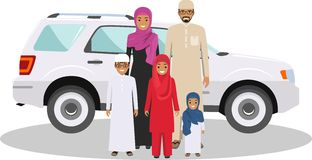 Family and social concept. Arab person generations at different ages. Muslim people father, mother, son and daughter Stock Images