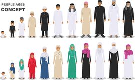 Family and social concept. Arab person generations at different ages. Muslim people father, mother, son, daughter, grandmother and. All age group of arab man royalty free illustration