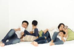 Family social network device Stock Photos