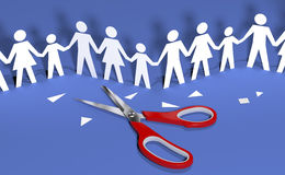 Family social people join community together. Scissors cut out paper doll chain families to join in social community royalty free illustration