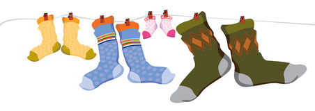 Family socks. For pair of socks: for kid, mother, baby and father, caricature Royalty Free Stock Photos