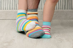Family in socks Stock Photography