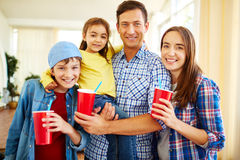 Family with soda Royalty Free Stock Photography