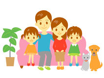 Family, sofa couch. Family, parents and kids, dog and cat, sofa, couch,  file Stock Photos