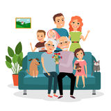 Family on sofa. Father and mother, infant, son and daughter, cat and dog, grandfather and grandmother. Vector illustration Stock Image