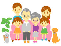 Family, sofa, three generation family. Parents and kids, dog and cat, sofa, couch, file royalty free illustration