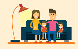 Family on sofa. Vector illustration of family on sofa in interior Stock Image