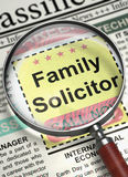 Family Solicitor Job Vacancy. 3D. Illustration of Classified Ad of Family Solicitor in Newspaper with Magnifying Glass. Family Solicitor - Close View Of A stock image