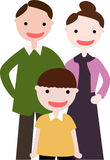 Family with  A Son. Colorful crayon-like illustration of a happy family with a son Royalty Free Stock Images