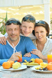 Family with son at breakfast Royalty Free Stock Photos