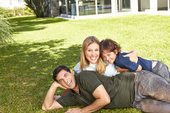 Family with son in garden Royalty Free Stock Photo