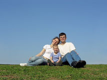 Family with son. meadow. Stock Photo