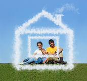 Family with son sitting cloud house on meadow. Collage royalty free stock images
