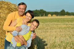 Family with  son at  wheat field Royalty Free Stock Photography