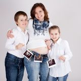 Family with sonogram Stock Photos